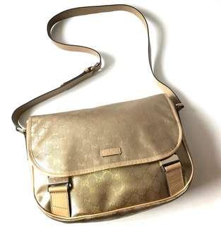 FAST DEAL! Preloved Gucci Messenger Gold Waterproof (30 x 10 x 21 cm) complete with replacement dustbag