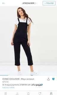 Atmos&here black jumpsuit overalls size 10 rrp$79.95