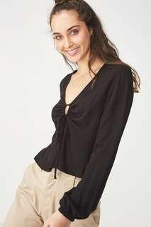 Crystal Black Rouched Top