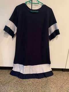 Pre loved Ninth Collective Pleated Dress in Navy