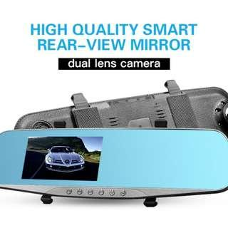 """🚚 OK AUTOEYE Rearview Mirror Dash Cam - Full HD 1080P Dual Channel Front and Back Car DVR with Wide Angle Lens supports Night Vision and 4.3"""" HD Anti-Glare Display - Collision Sensor and Parking Mode (Silver Rim)"""