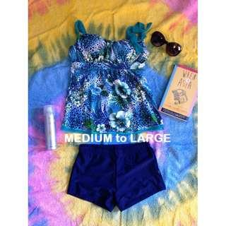 Blue Floral Tankini