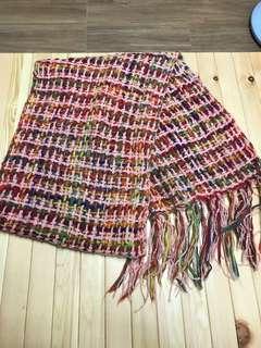 🚚 女用粉紅彩色編織中版寬圍巾 scarf.