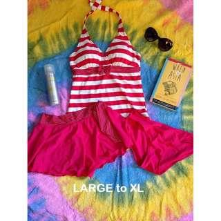 Red Tankini with Skirt