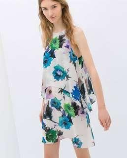 Zara Floral Chiffon Flow Colorful Sleeveless Dress