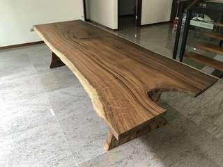 Solid Suar wood table with slab wood legs