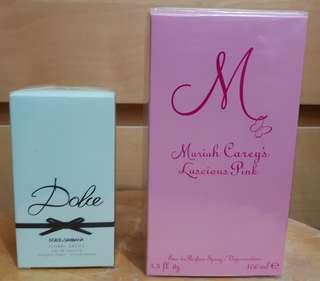 Brand new sealed in box - Dolce & Gabbana Floral Drops 50ml and Mariah Carey Luscious Pink 100ml