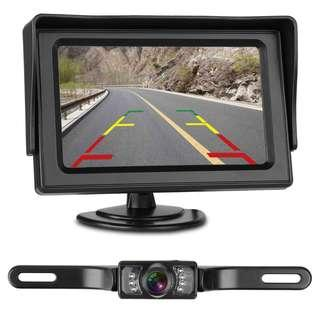 1882. LeeKooLuu Backup Camera and Monitor Kit for Car/Vehicle/Truck Waterproof Night Vision License Plate rear view Camera wire Single power source Rear view/continuous view Optional 4.3 Display Grid Lines
