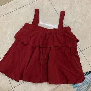 Tank offshoulder top flowy maroon crop