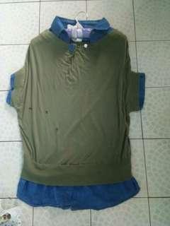 Maong olive green top
