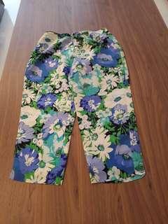 Silk flower ankle pantd