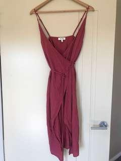 Linen red wrap dress