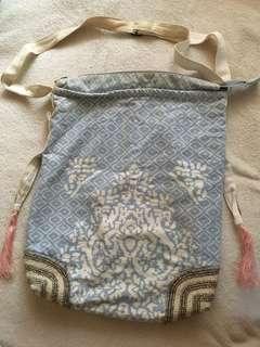 Natura canvas blue beaded bag