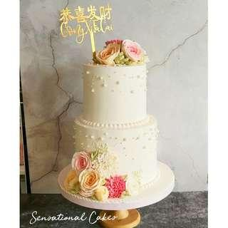 2 tier sugar flower in deliscious cream wedding or any occasion customized cake #singaporecake