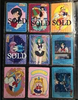 美少女戰士 中古日版貼紙膠卡(Sailor Venus 美奈子款有圖三所示問題/ 圖四2張亞美只有背面,貼紙已撕走)*價錢不一#SailorMoon