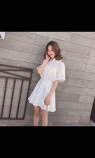 🚚 夢幻白色短袖收腰洋裝