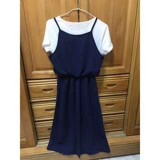 🚚 假兩件式收腰洋裝 長裙洋裝