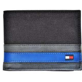 NEW Tommy Hilfiger Men's Canvas and Leather Billfold Wallet (Black)