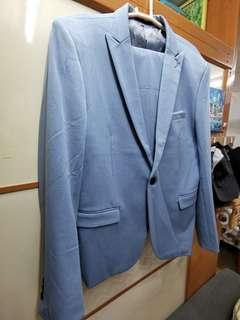 男裝 西裝外套及褲 淺藍色