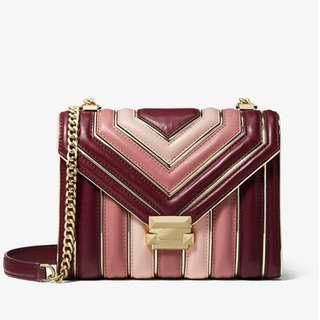 Authentic MK Michael Kors Whitney Large Quilted Tri-Color Leather Convertible Shoulder Bag