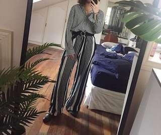 H&M Black and White Striped High Waisted Wide Leg Pants Trousers