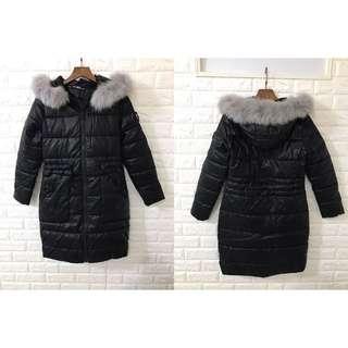 🚚 轉售 韓國皮衣 全新狐狸毛領長版夾棉連帽外套