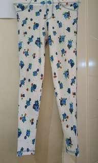 White Blue Flower Leggings