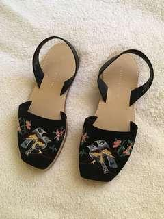 Charles and Keith black embroidered sandals