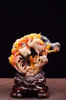 松鶴延年 純天然色彩,寓意吉祥,可鑑定。