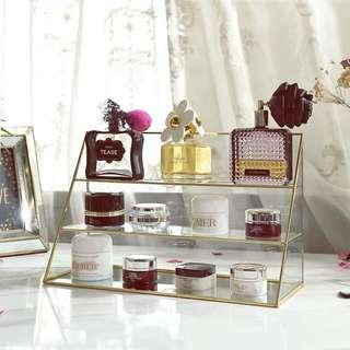 3 tier gold perfume , makeup and skincare organizer