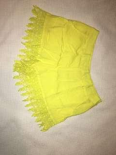 Yellow detailed shorts