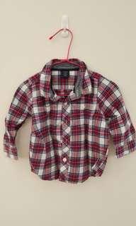 Baby Gap 18-24M 法蘭絨格子襯衫 童衣三件以上8折