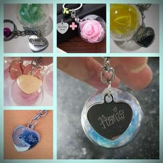 Keychains | valentines day | rose | engraving | pendants