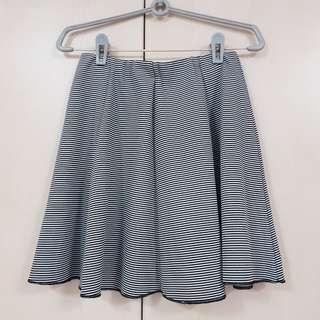 BN black & white lined flare skirt