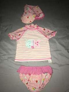 Baby Swimming Suit with sunscreen hat/rashguard