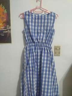 🚚 全新GU無袖格紋綁帶洋裝