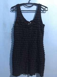 Authentic (not overrun) H&M Ruffle/Tiered Sleeveless Black Dress (Lined)