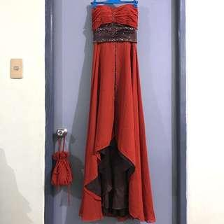 Long Gown Set (With Bag and Heels)