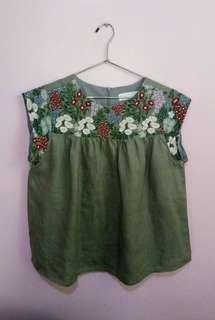 Olive Green Embroidered Babydoll Top