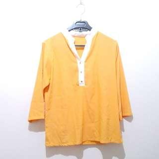 PinkEmma Orange Shirt With Gold Buttons Kemeja Wanita Kantor Kancing Emas Busui Branded Murah Diskon