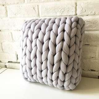 Hand-Made Chunky Knitted Design Cushion READY STOCKS - GREY