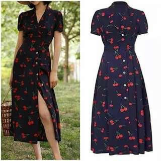 Cherry button dress
