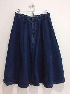 Pull & Bear Denim Jeans A Line Circle Midi Skirt