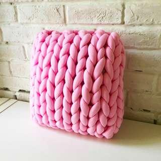 Hand-Made Chunky Knitted Design Cushion READY STOCKS - PINK