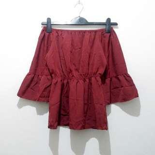 Red Off-Shoulder / Sabrina Peplum Top Blouse Atasan Merah Imlek Sincia Murah Seksi