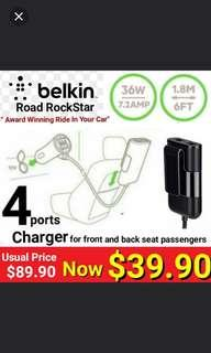 World's First  Driver + Passenger charger by BELKIN ROAD ROCKSTAR 4-PORT USB Charger (Allows Passengers at both front and backseat  to charge their mobile devices Simultaneously
