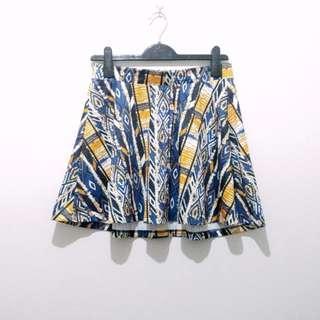 Something Borrowed Premium Pattern Mini Flare Skirt Scuba Rok Mekar Full Print Motif Murah