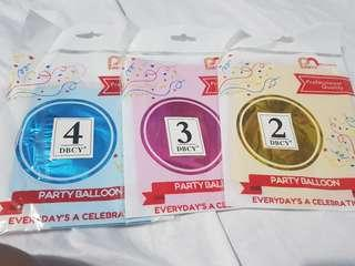 """10"""" Metallic Balloons (Numbers 2, 3, and 4 only)"""
