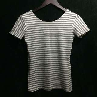 Gray Low Back Striped Top