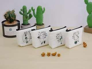 Basin of Succulent Canvas Coin Pouch